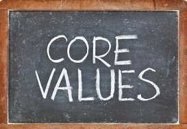 core values phrase - white chalk handwriting on a slate blackboard,